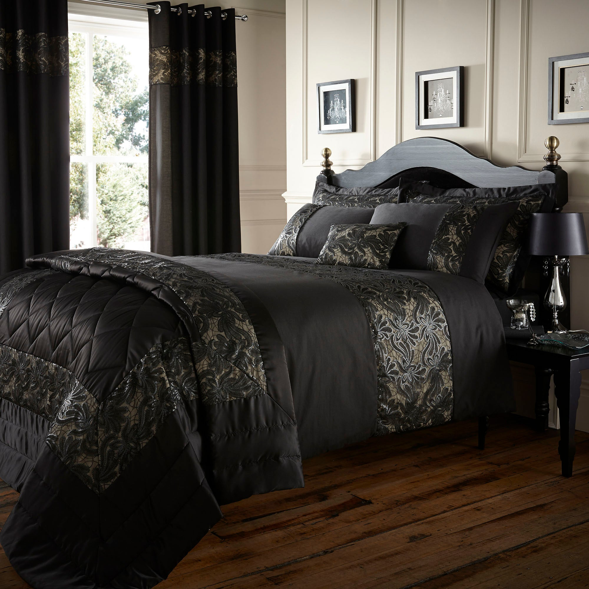 black zetta collection duvet cover dunelm. Black Bedroom Furniture Sets. Home Design Ideas
