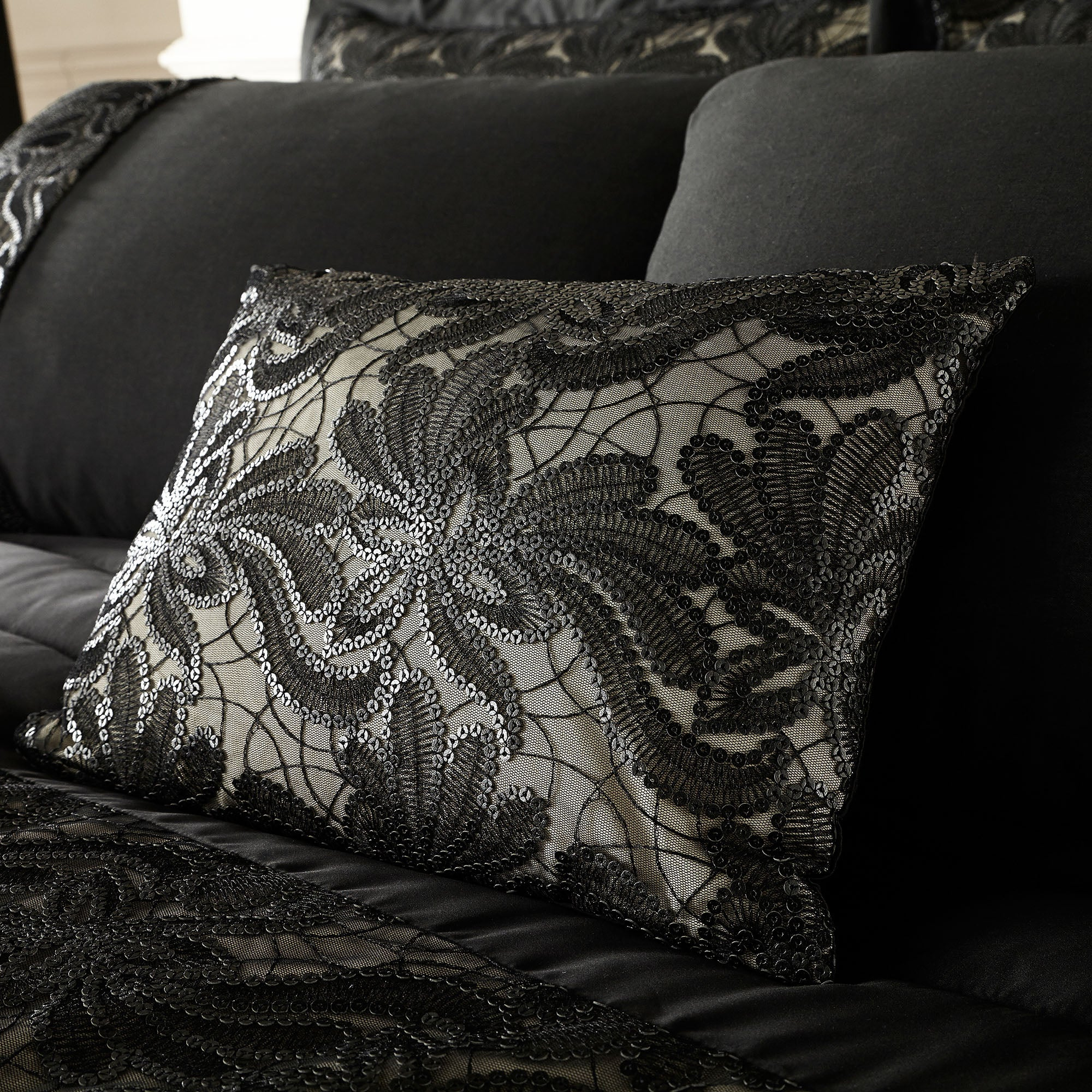 Black Zetta Collection Boudoir Cushion