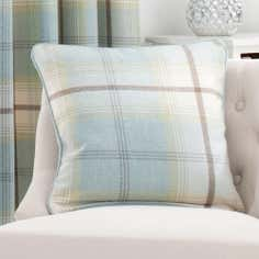 Duck Egg Highland Check Cushion