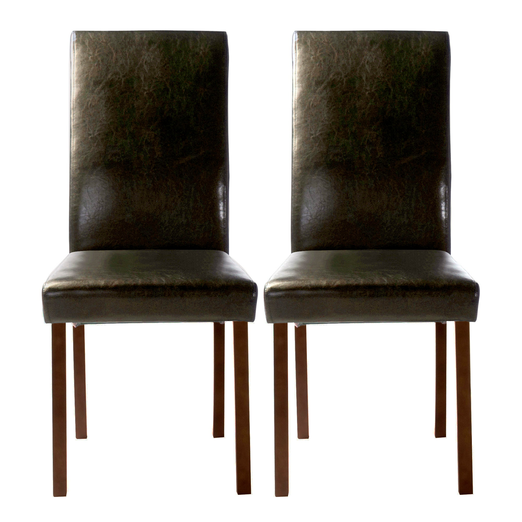 Hunston Black Faux Leather Pair of Dining Chairs
