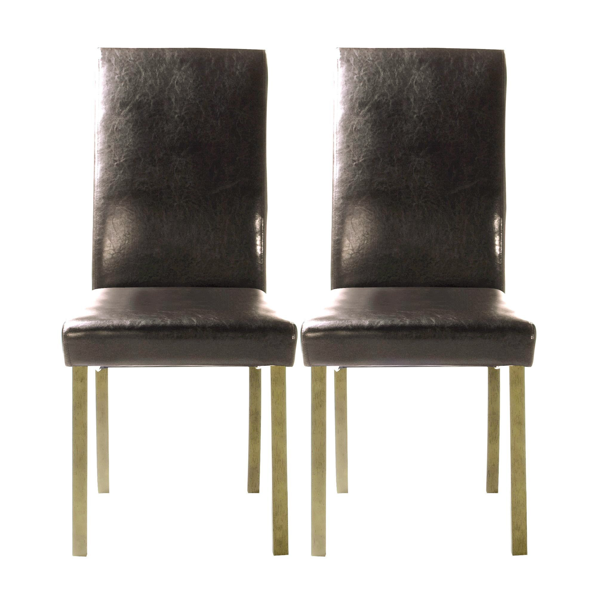 Hunston Brown Faux Leather Pair of Extra Large Dining Chairs