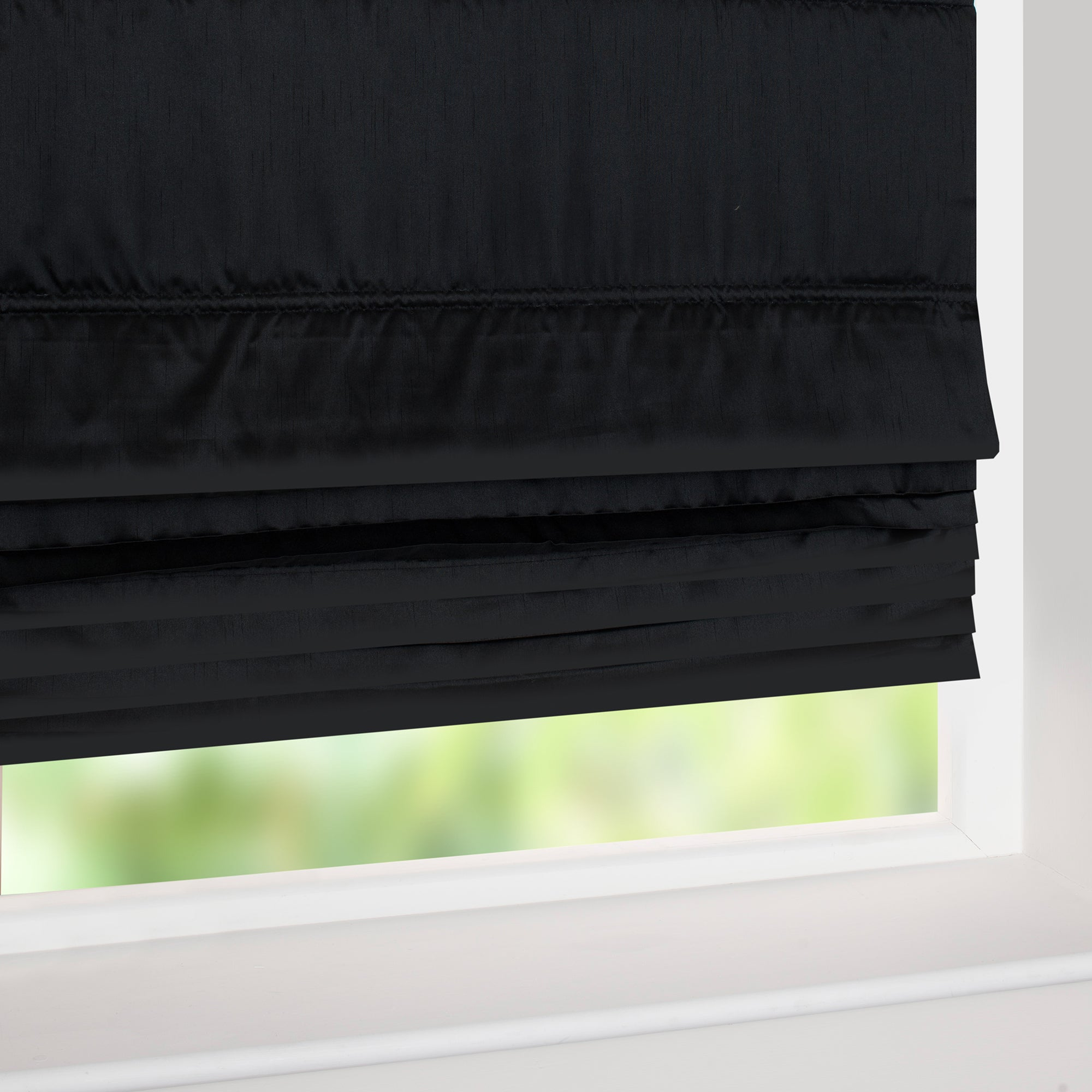Hotel Black Pintuck Roman Blind
