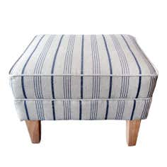 Edinburgh Footstool Blue Stripe