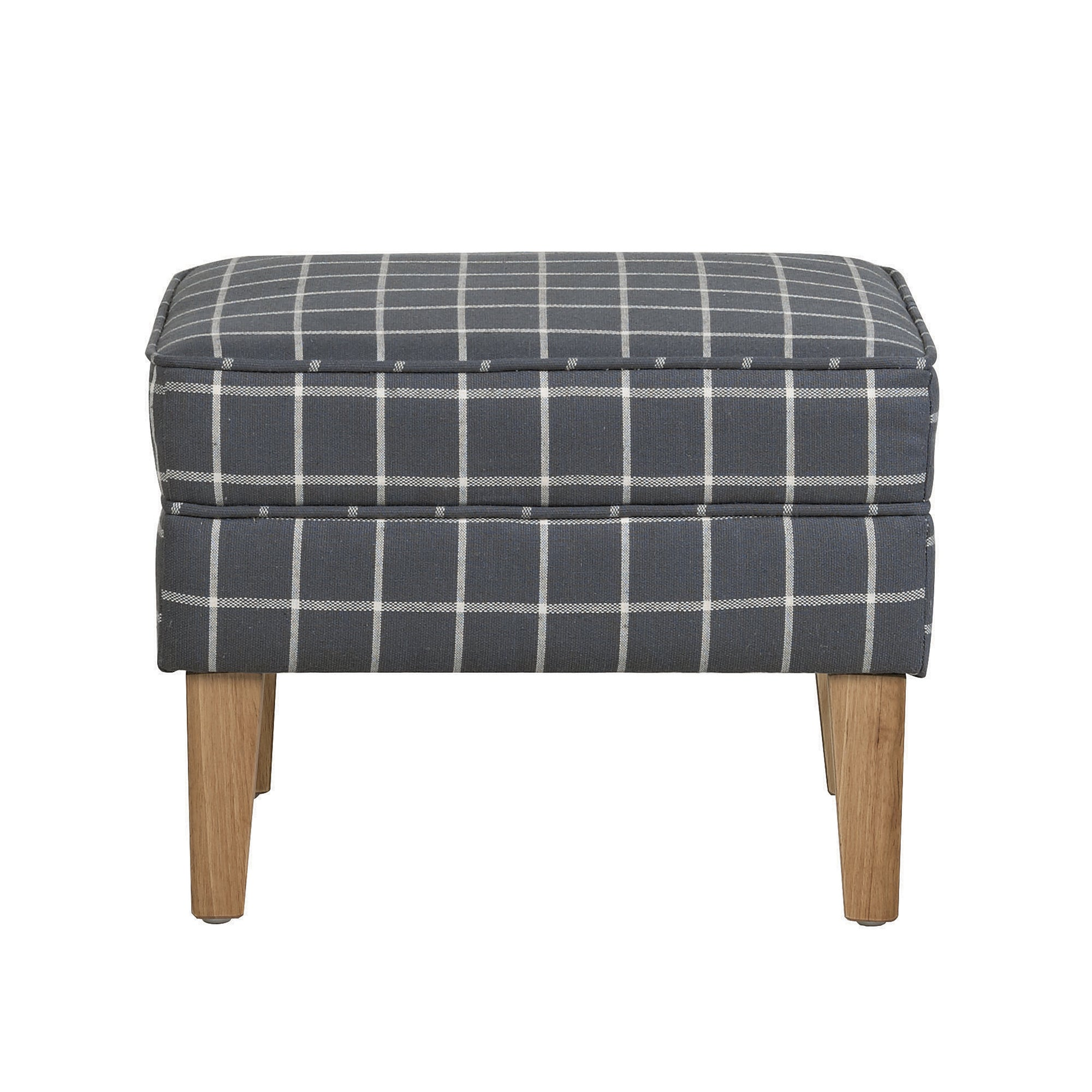 Charcoal Check Edinburgh Footstool