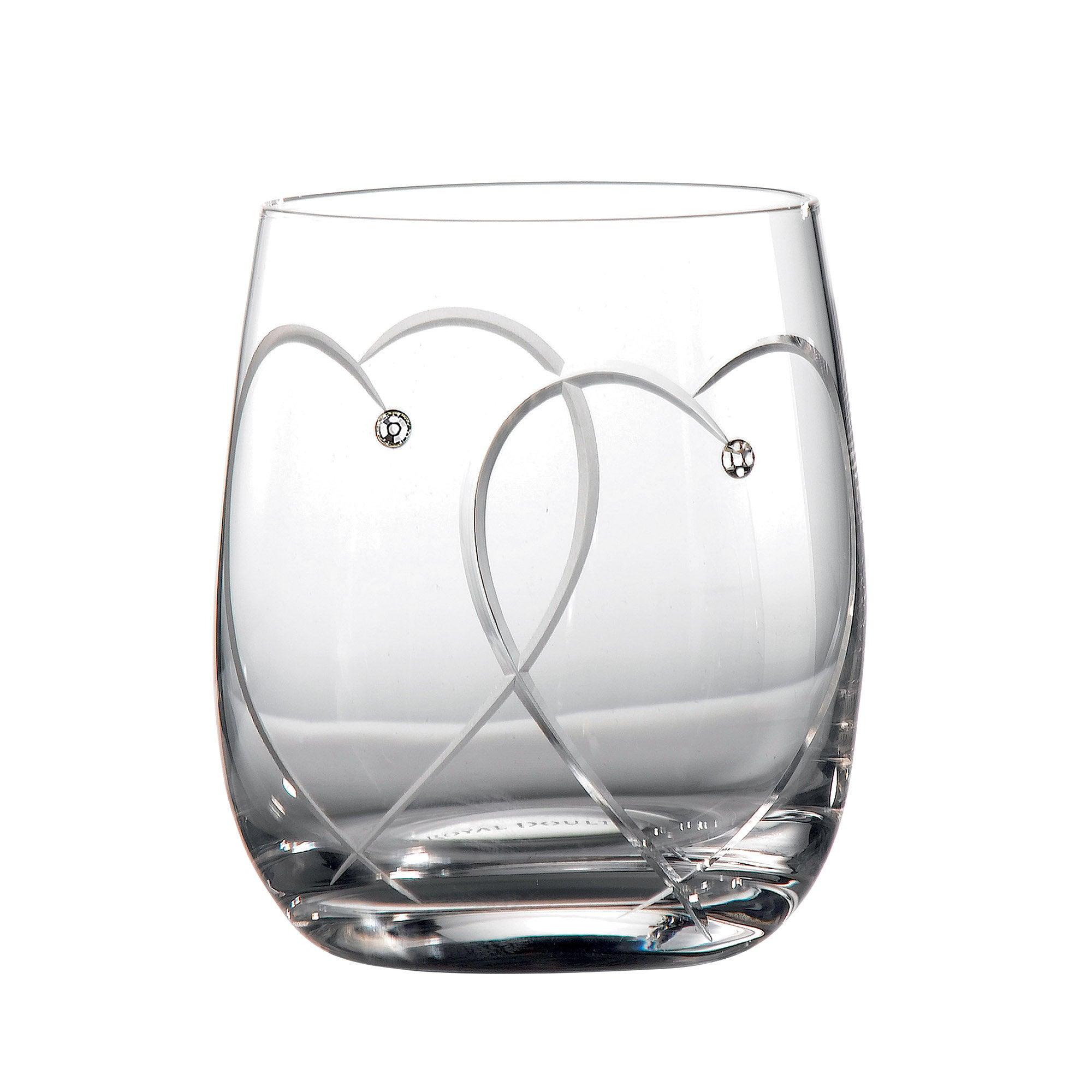 Royal Doulton Promises Pair of Toasting Tumbler Glasses