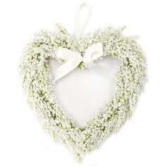 White Lavender Heart Wreath