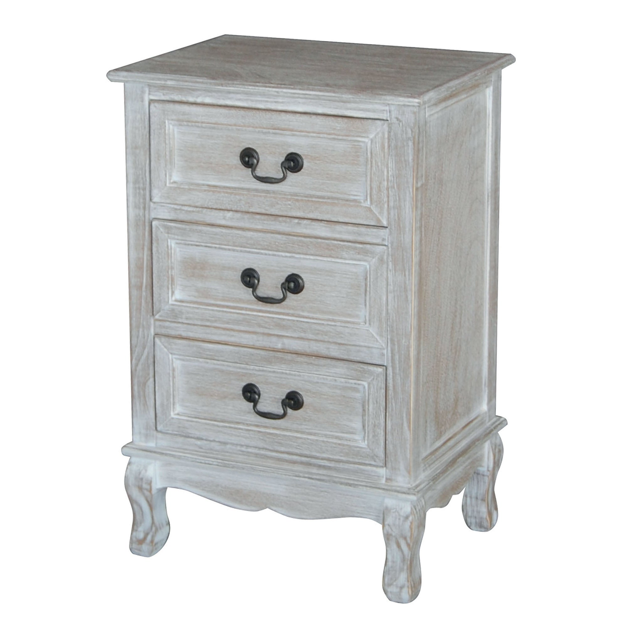 Bordeaux Washed Wood 3 Drawer Bedside Table