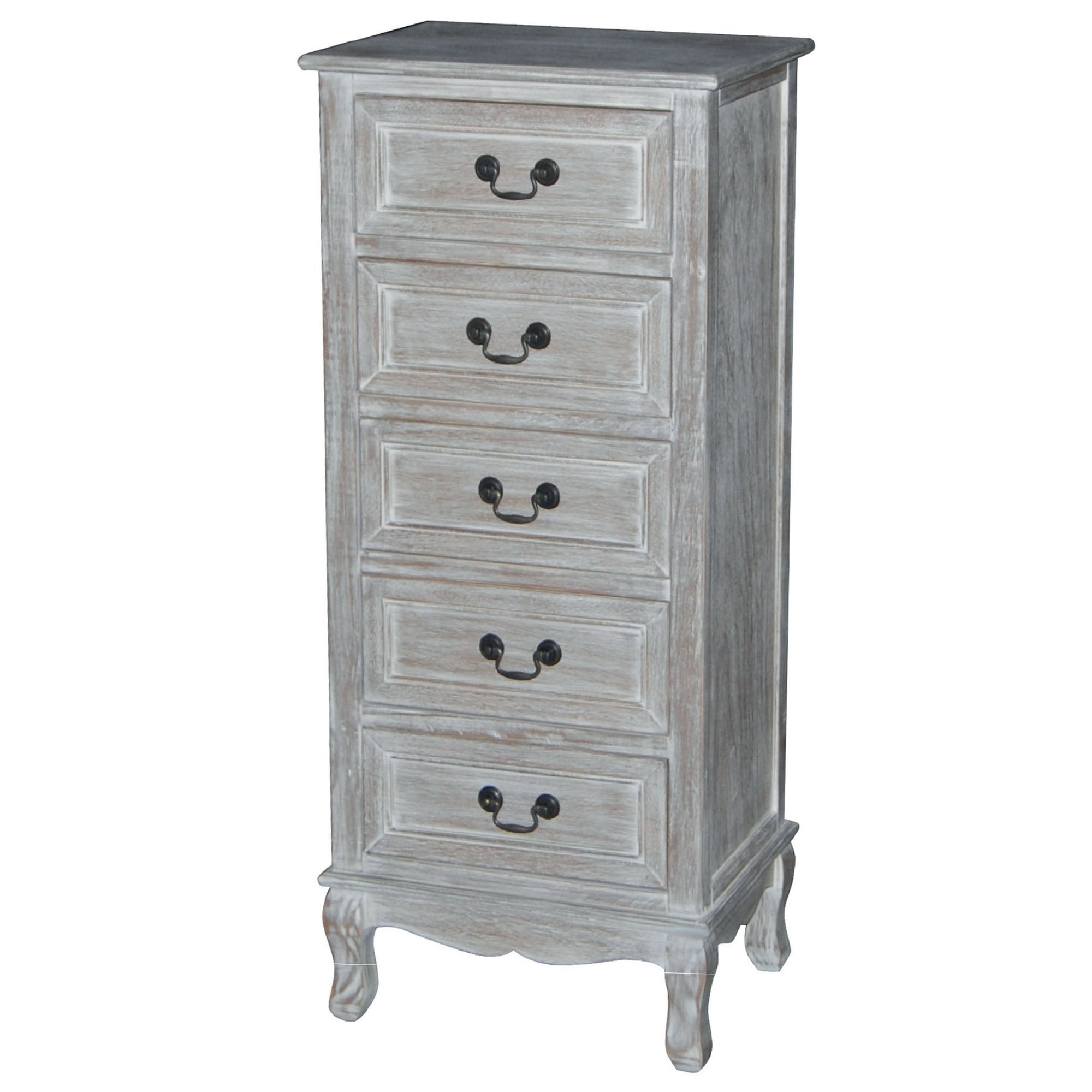 Bordeaux Washed Wood 5 Drawer Tallboy