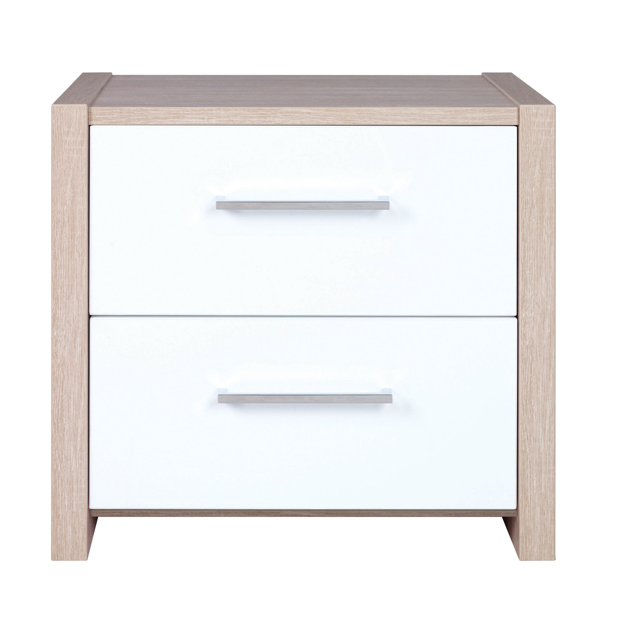Indiana White 2 Drawer Bedside Unit