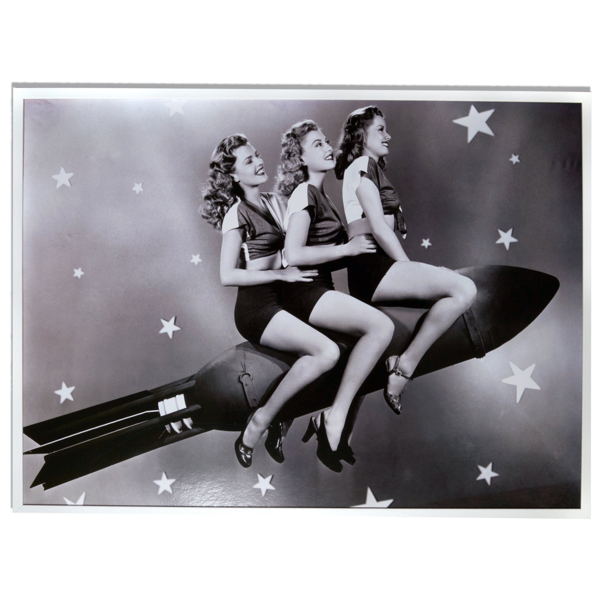 Rocket Girls Black and White Framed Print