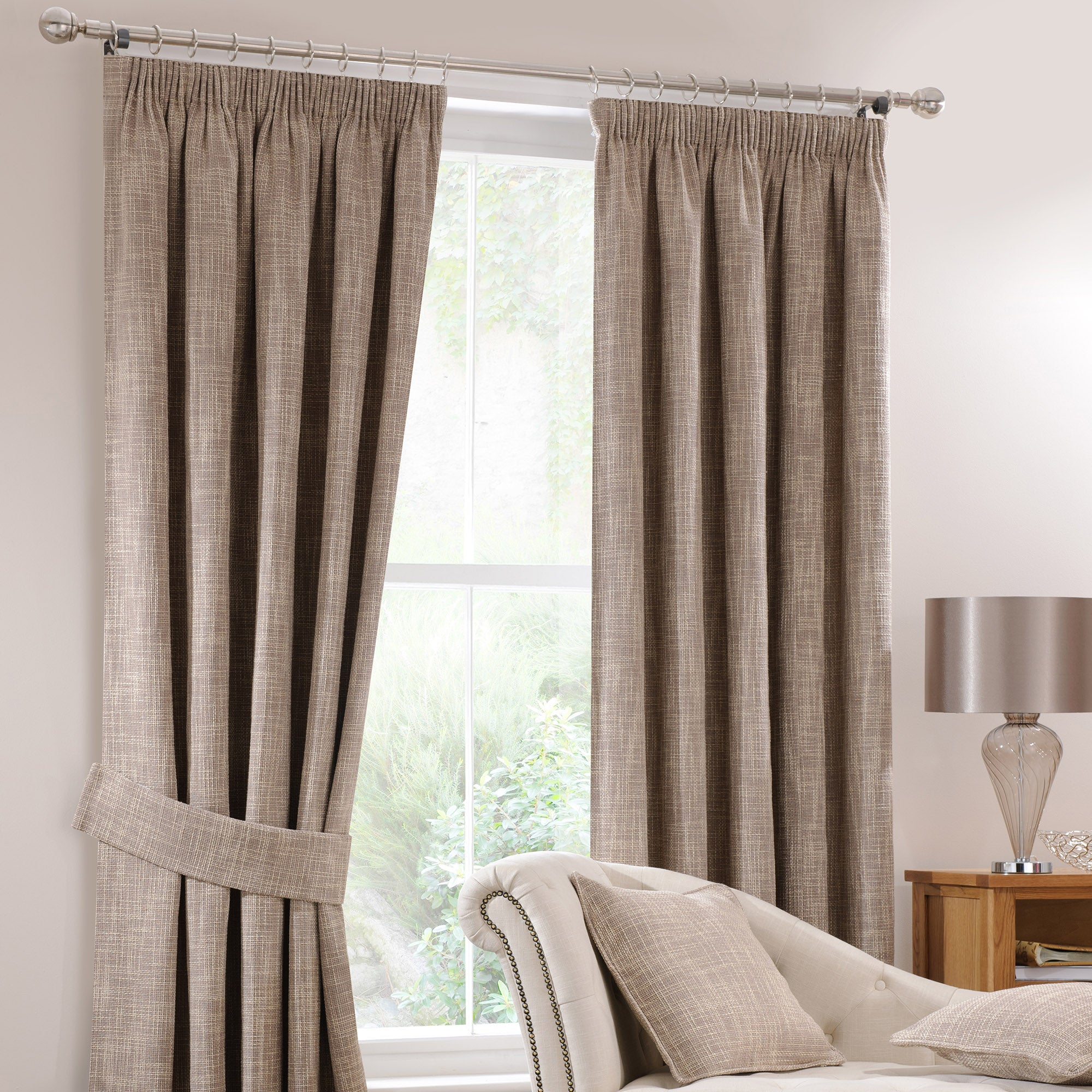 Mink Lorenza Lined Pencil Pleat Curtains