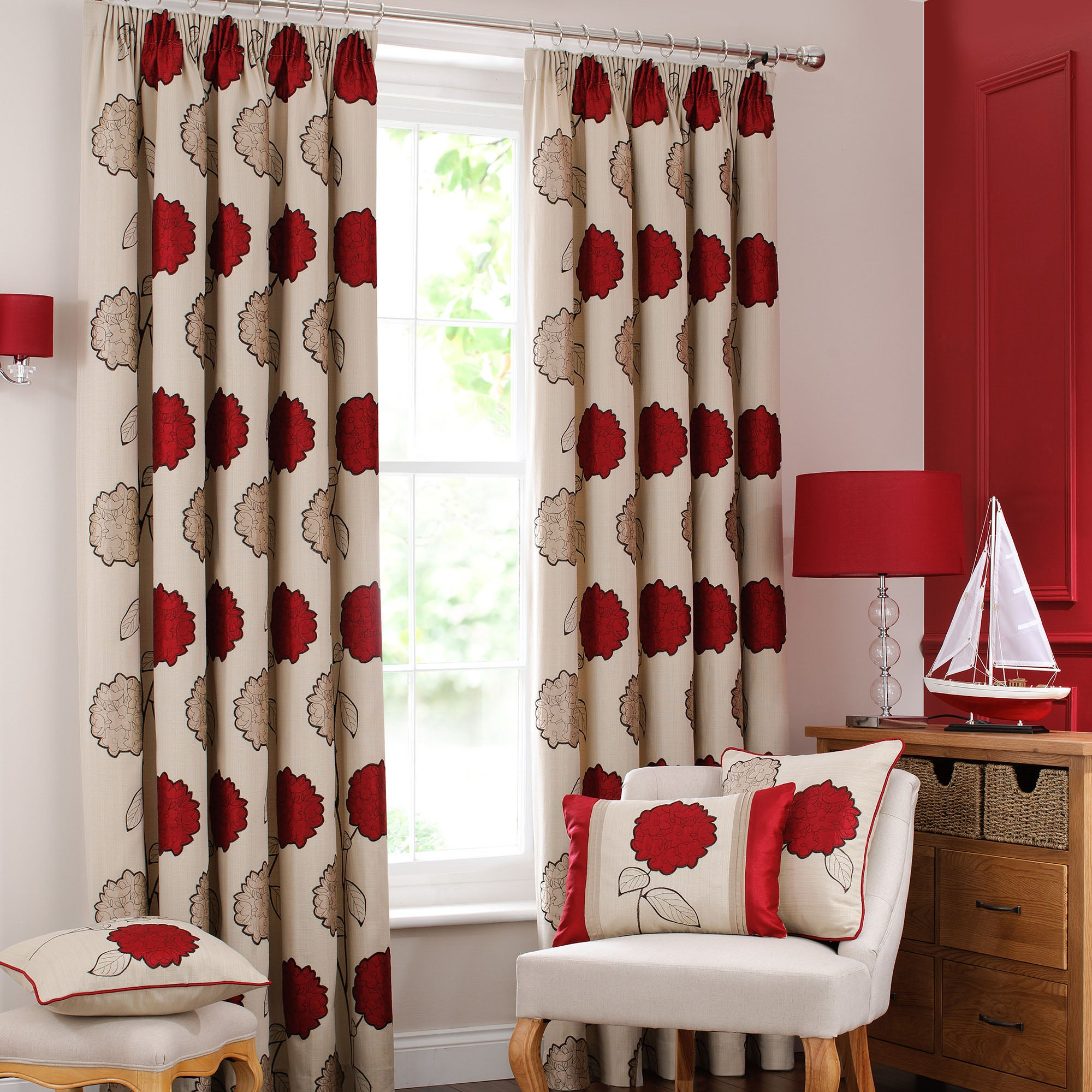 Red Louisa Lined Pencil Pleat Curtains