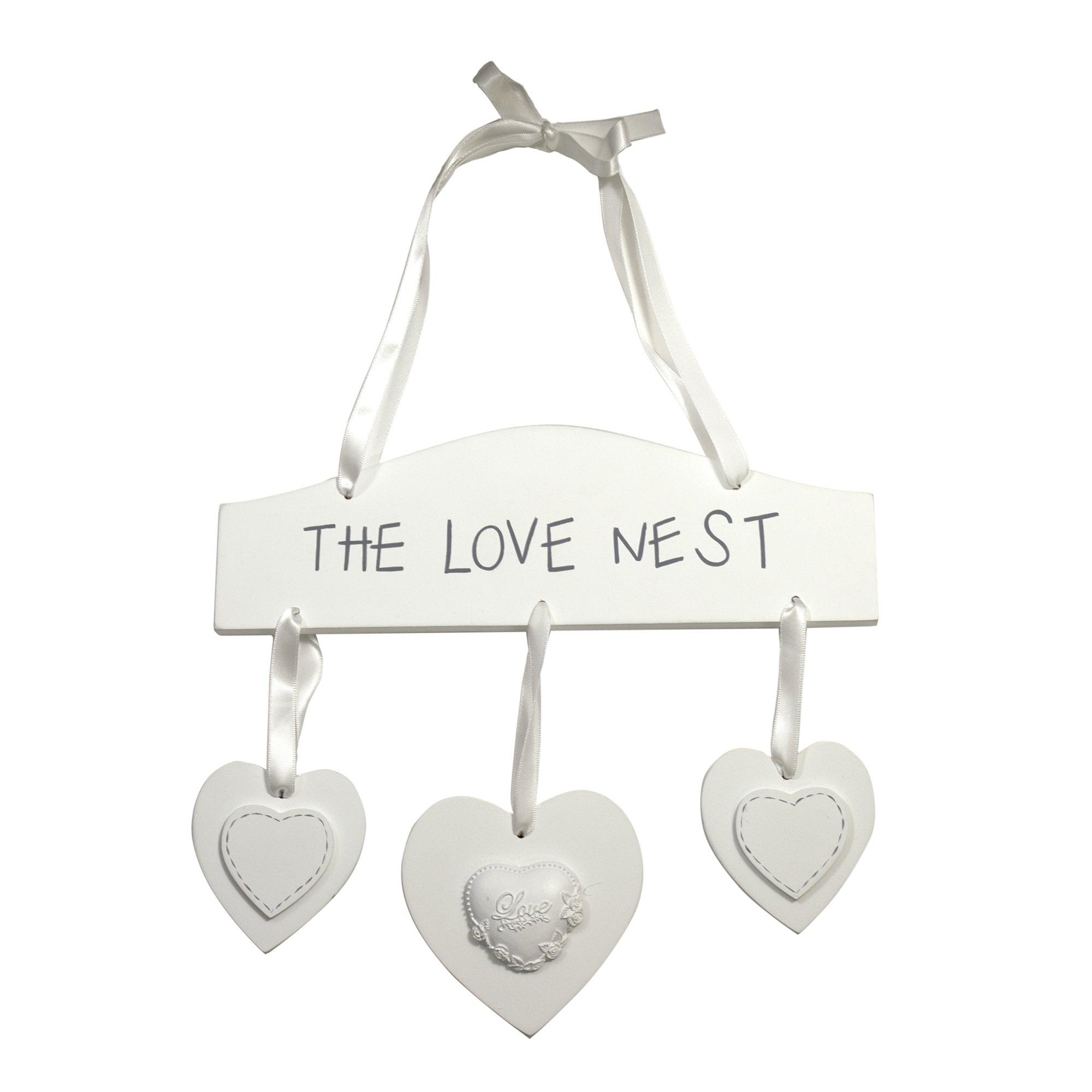 White Wedding Love Nest Hanging Sign