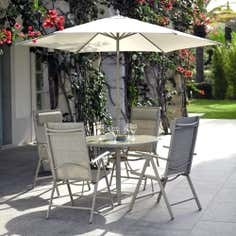 Tudor 4 Seater Garden Dining Furniture with Parasol