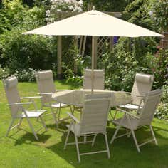 Tudor 6 Seater Round Garden Dining Furniture with Parasol
