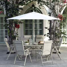 Tudor 6 Seater Garden Dining Furniture with Parasol