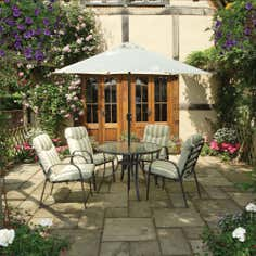 Provence 4 Seater Garden Dining Furniture with Parasol
