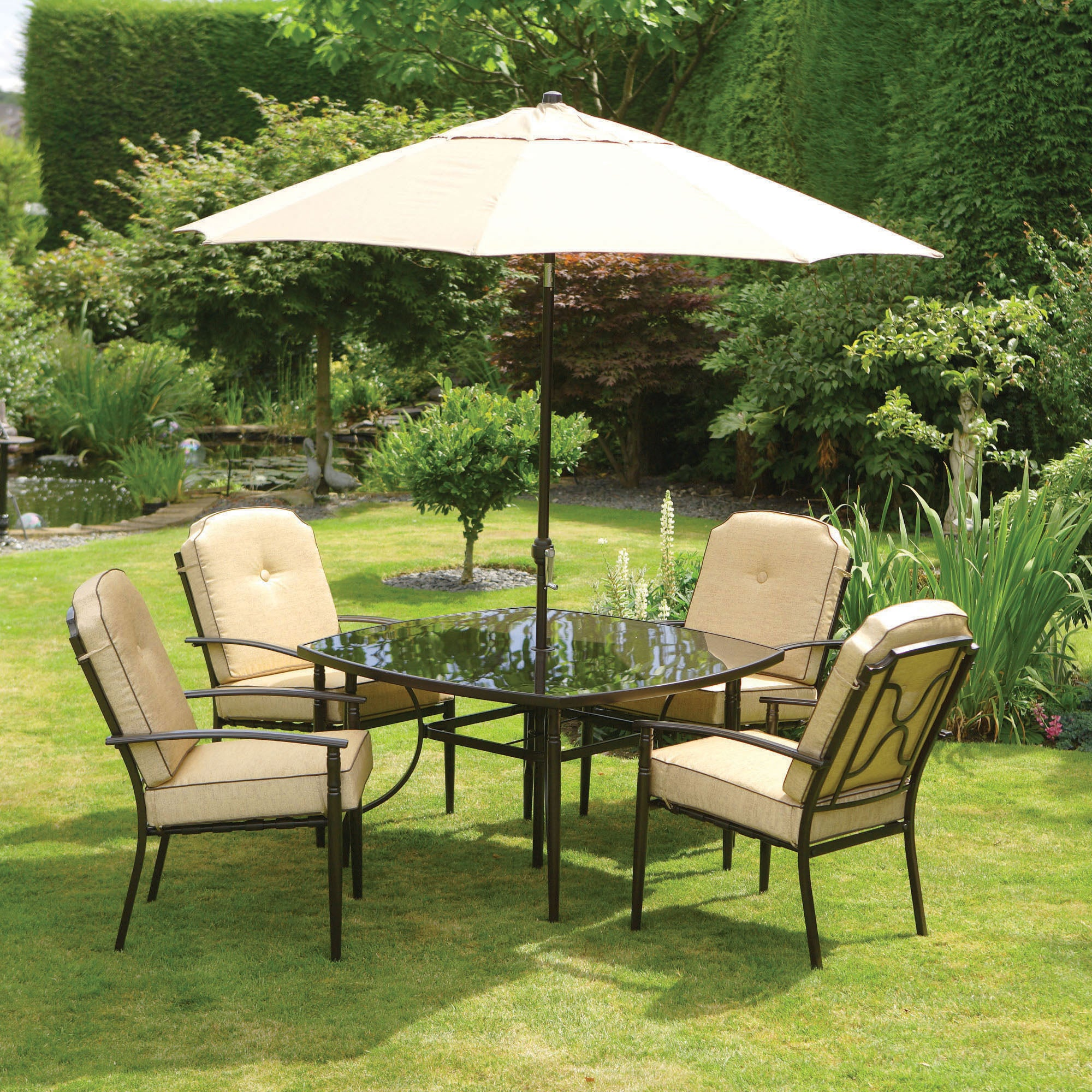 Hamilton 4 Seater Garden Dining Furniture with Parasol