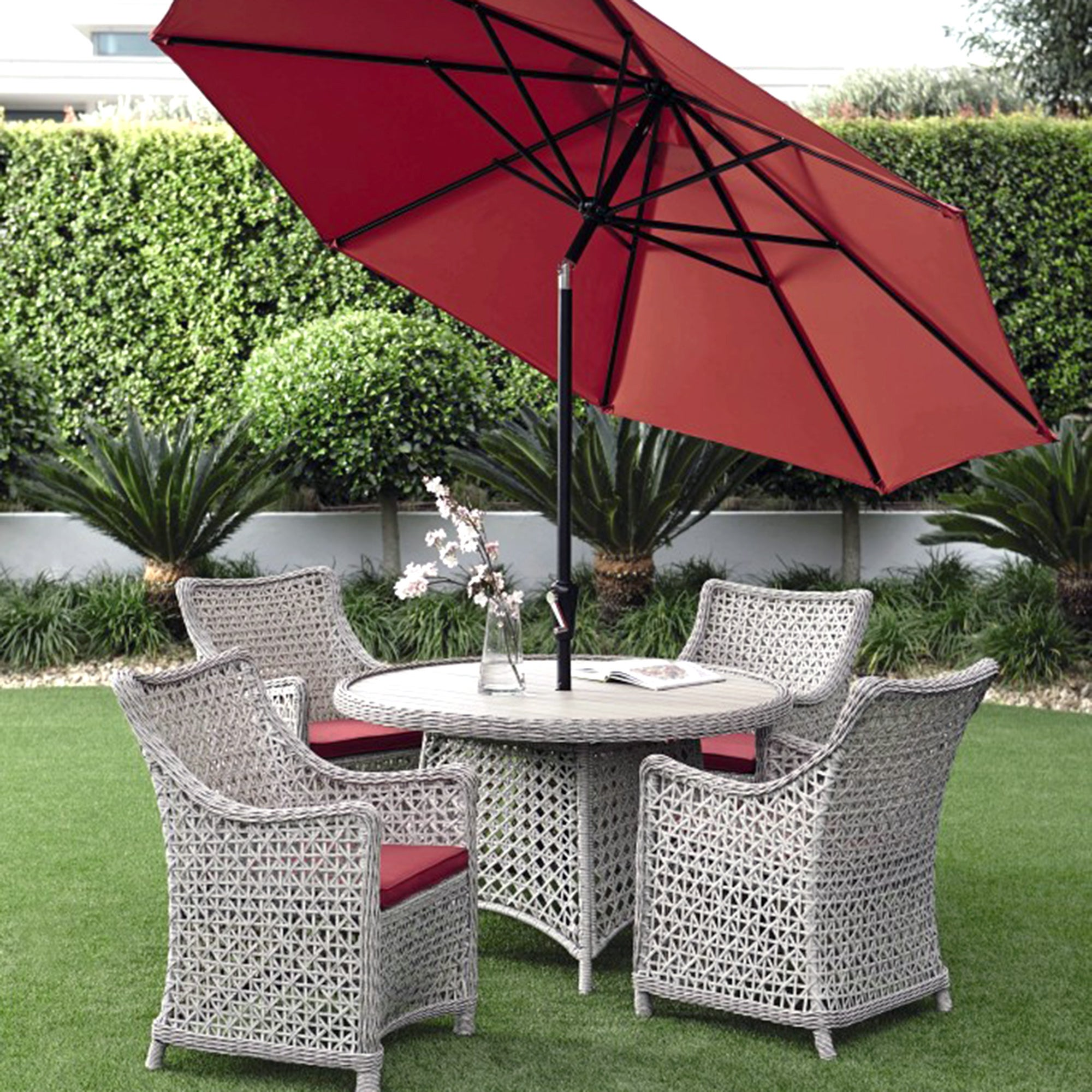 Antibes Deluxe 4 Seater Garden Dining Furniture with Parasol