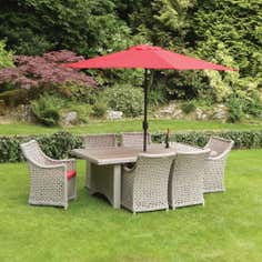 Antibes Deluxe 6 Seater Garden Dining Furniture with Parasol