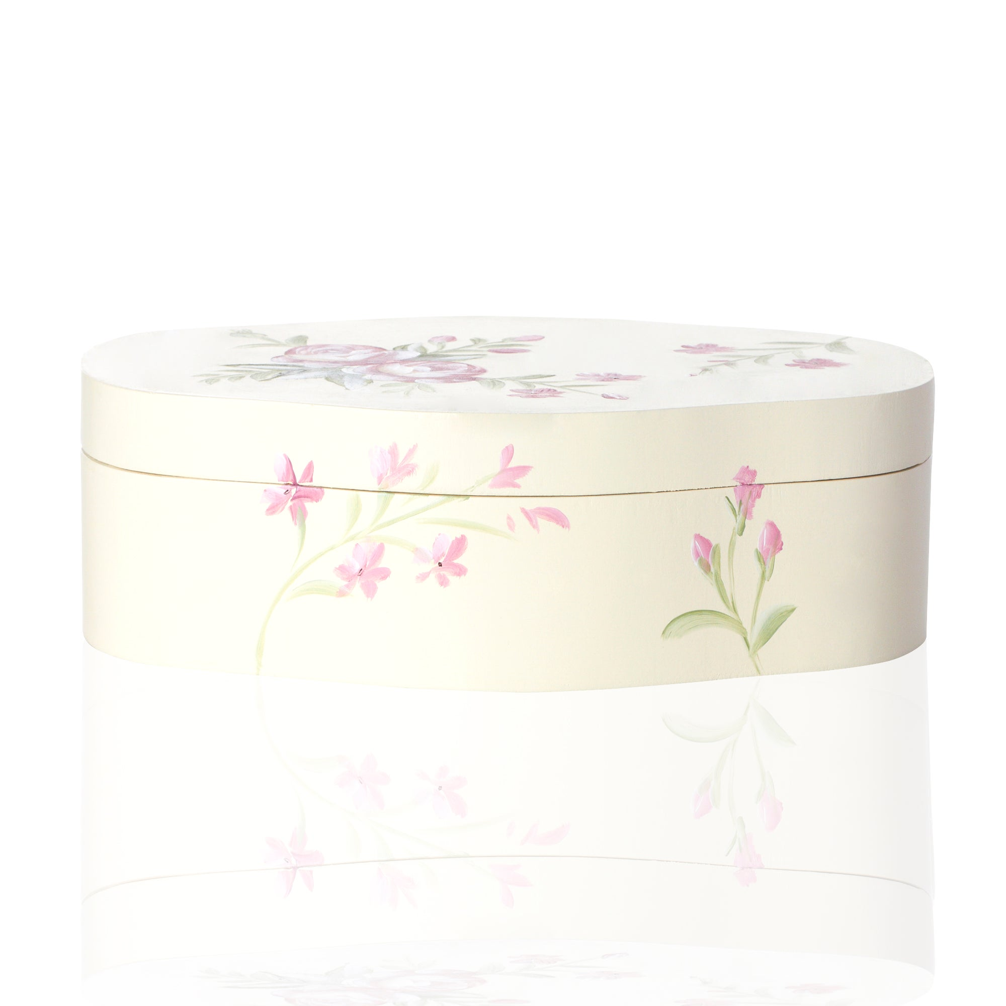 Floral Hand Painted Curved Keepsake Box