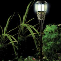 Solar Rattan Post Light