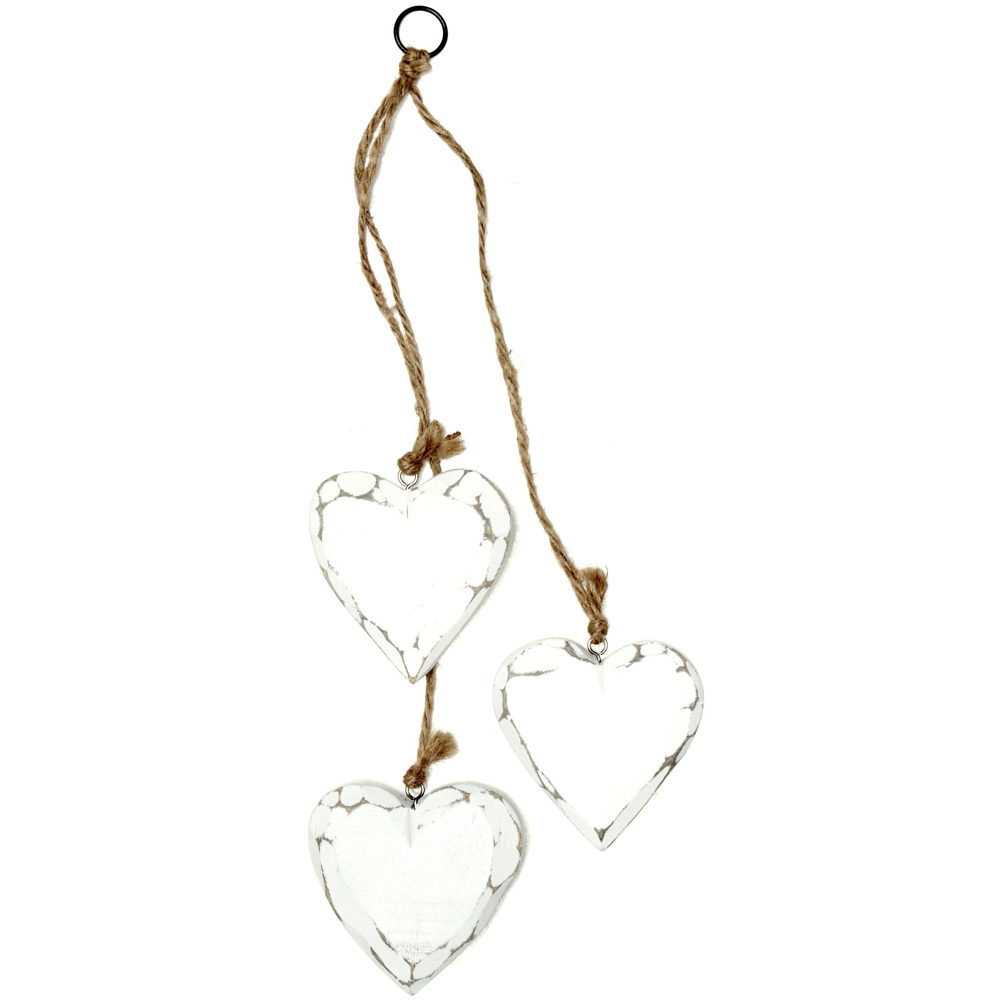 Vintage Cream Set of 3 Wooden Hanging Hearts