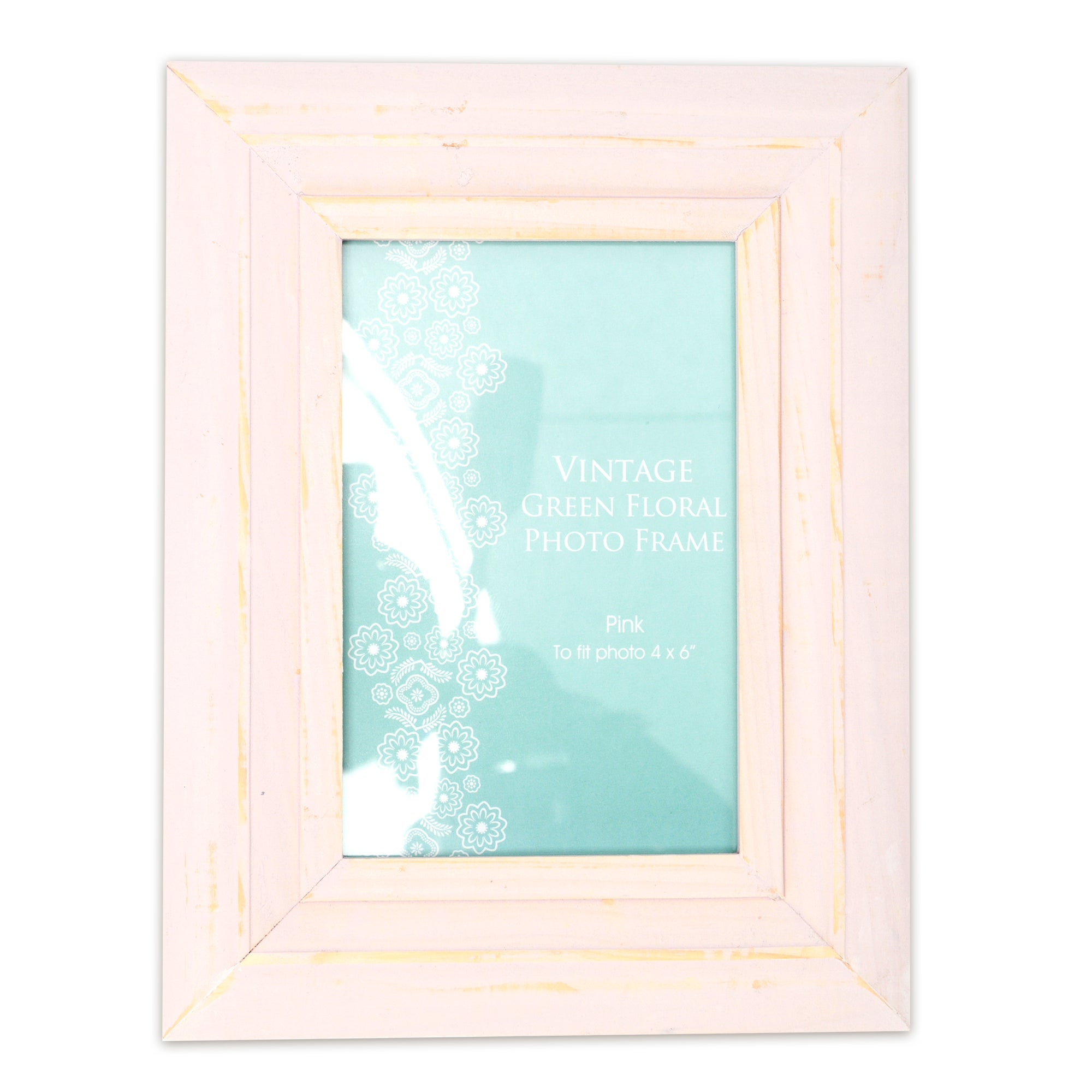Vintage Green Floral Collection Distressed Pink Photo Frame