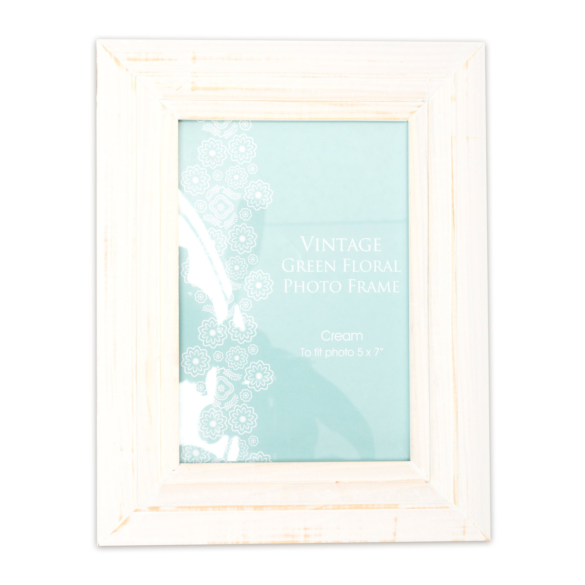 Vintage Green Floral Collection Distressed Cream Photo Frame