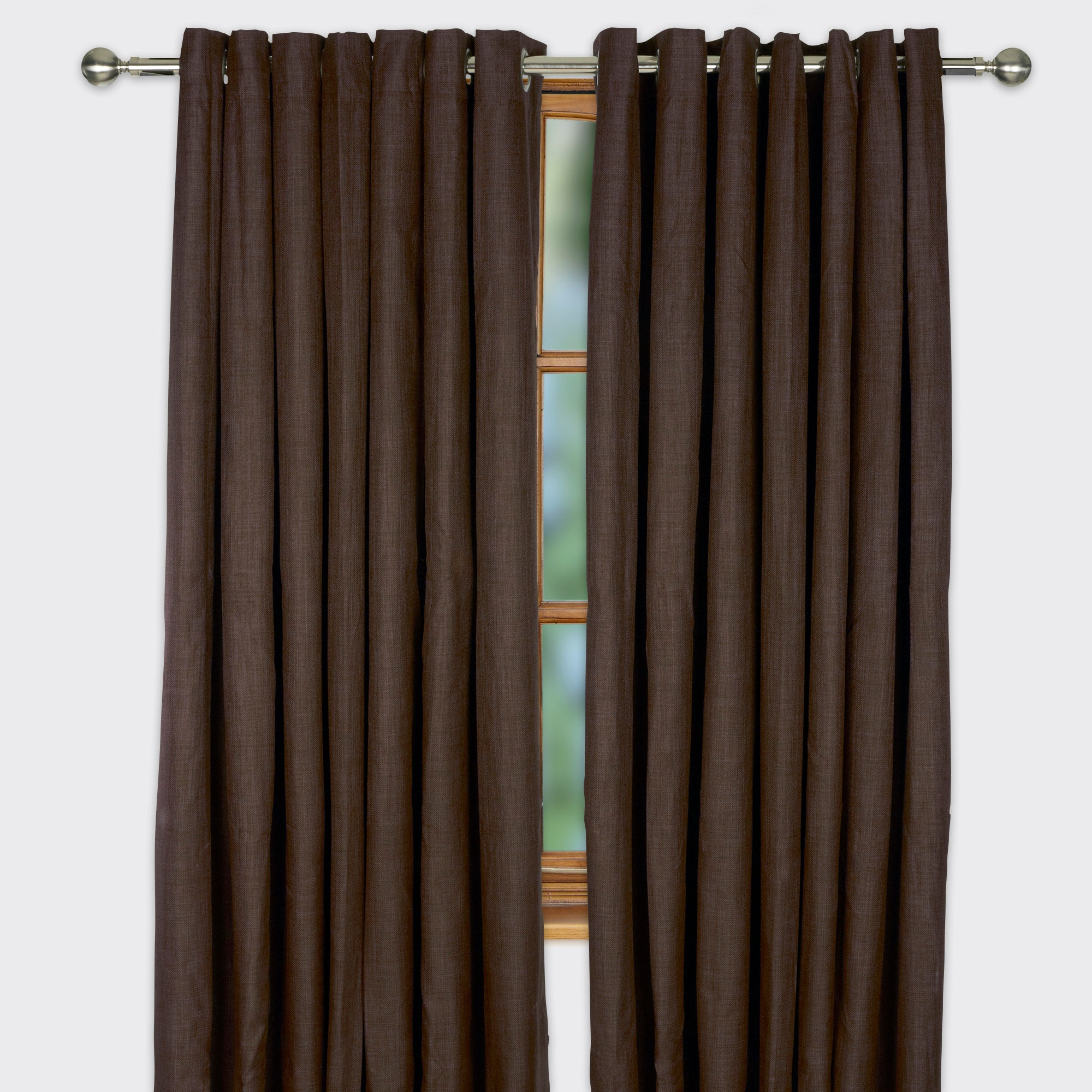 Chocolate Argyle Blackout Eyelet Curtains