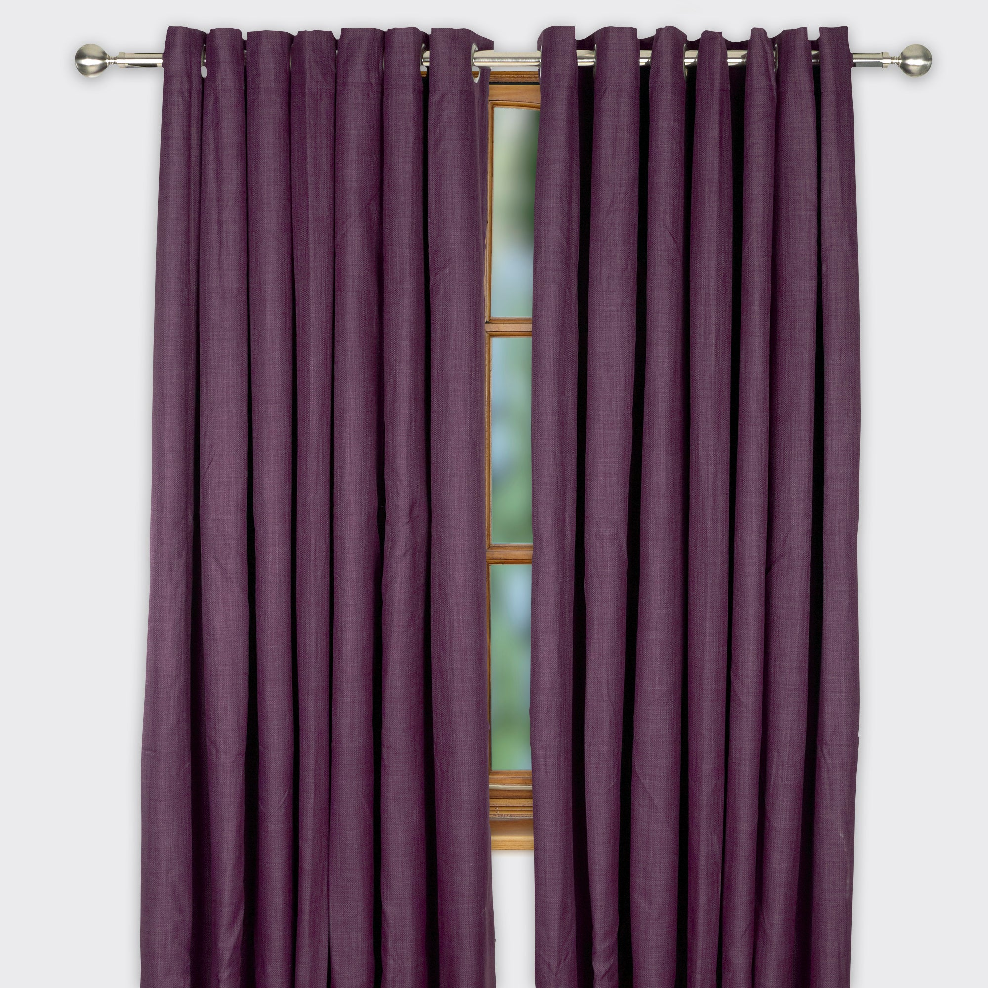 Aubergine Argyle Text Blackout Eyelet Curtains