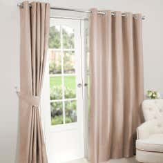 Champagne Nova Blackout Lined Eyelet Curtains