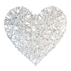 White Hanging Wicker Heart