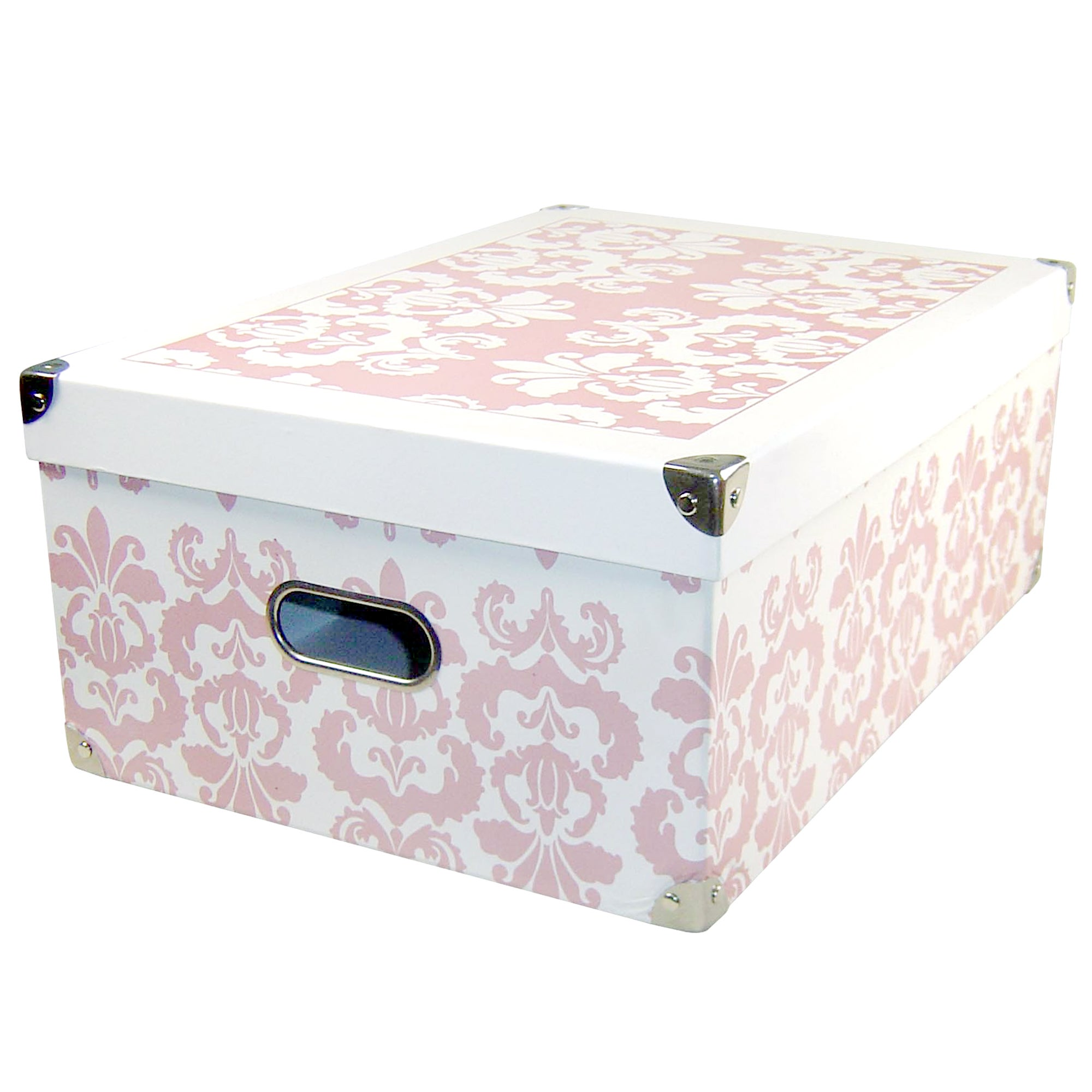 Pink Damask Rectangular Storage Box