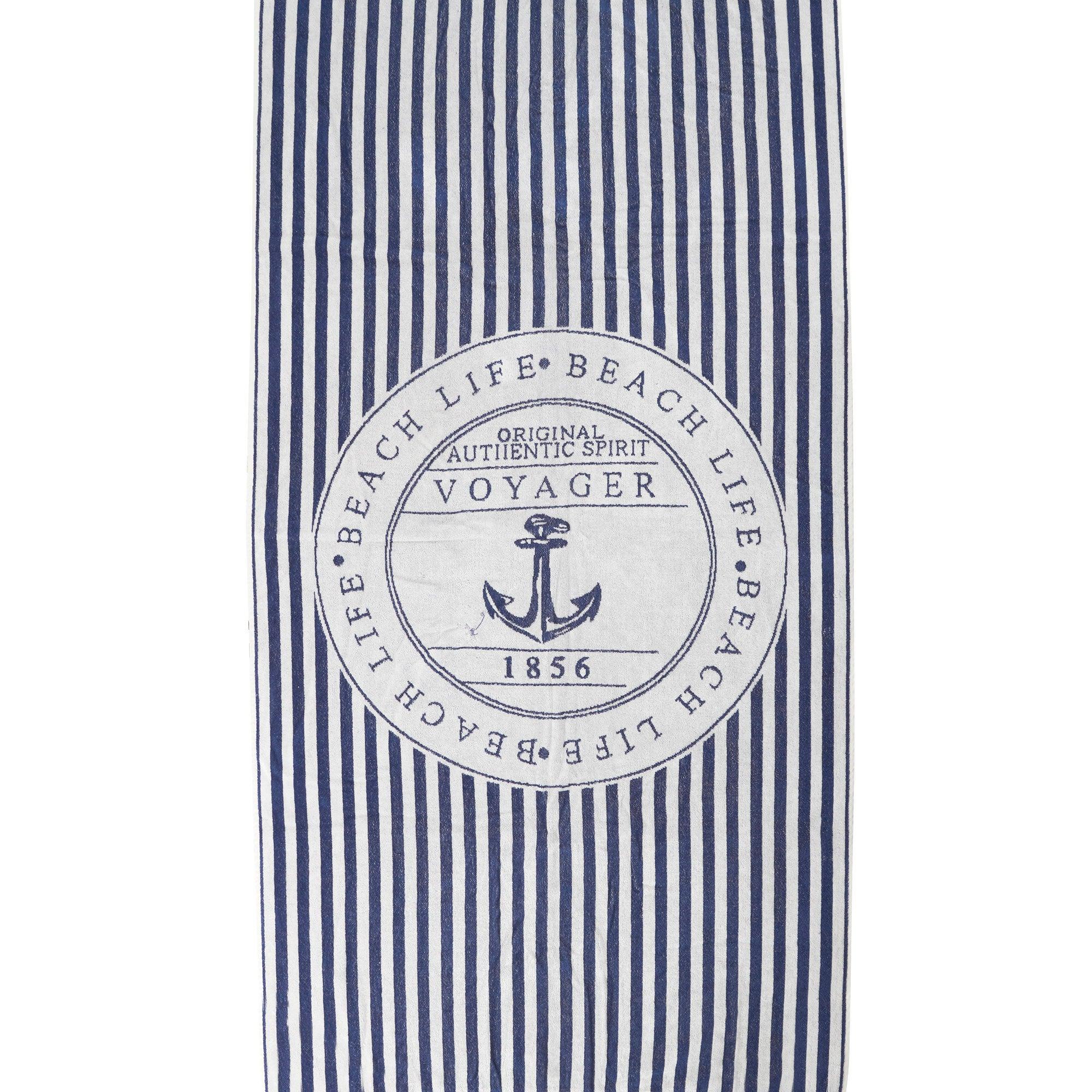 Blue Nautical Anchor Beach Towel
