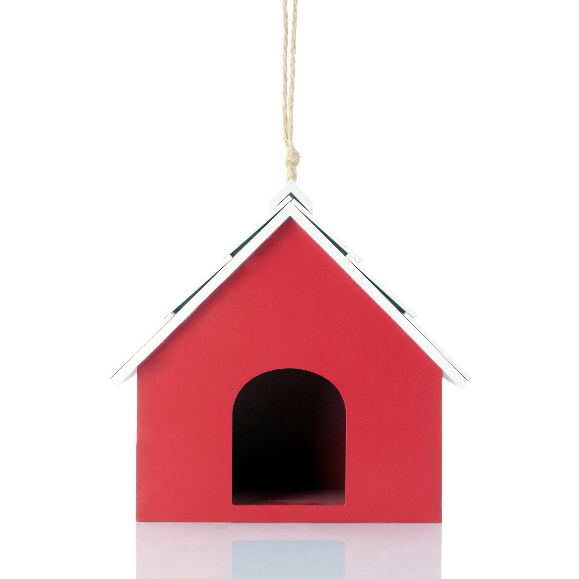 Red and White Wooden Birdhouse