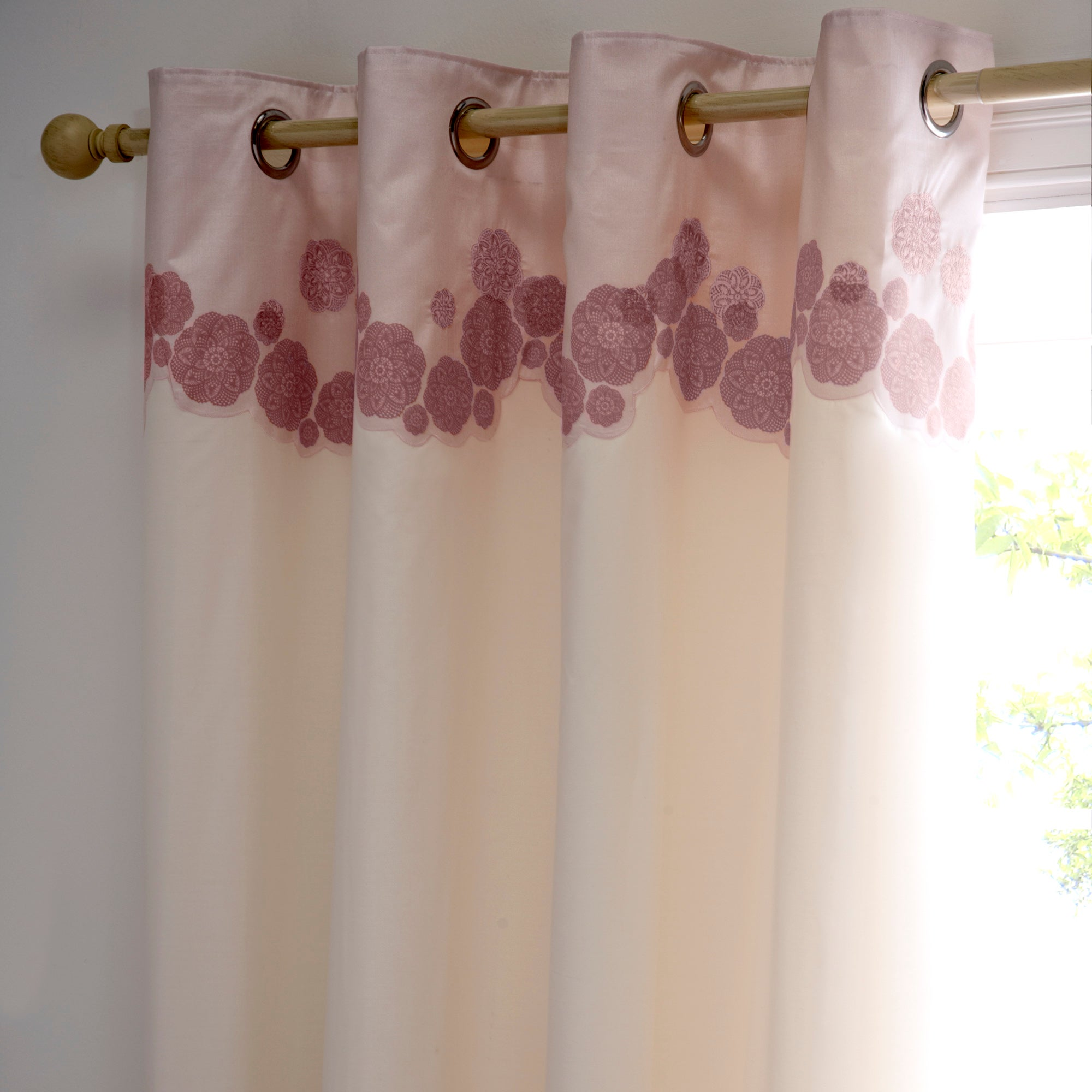 Dusky Pink Phoebe Thermal Eyelet Curtains