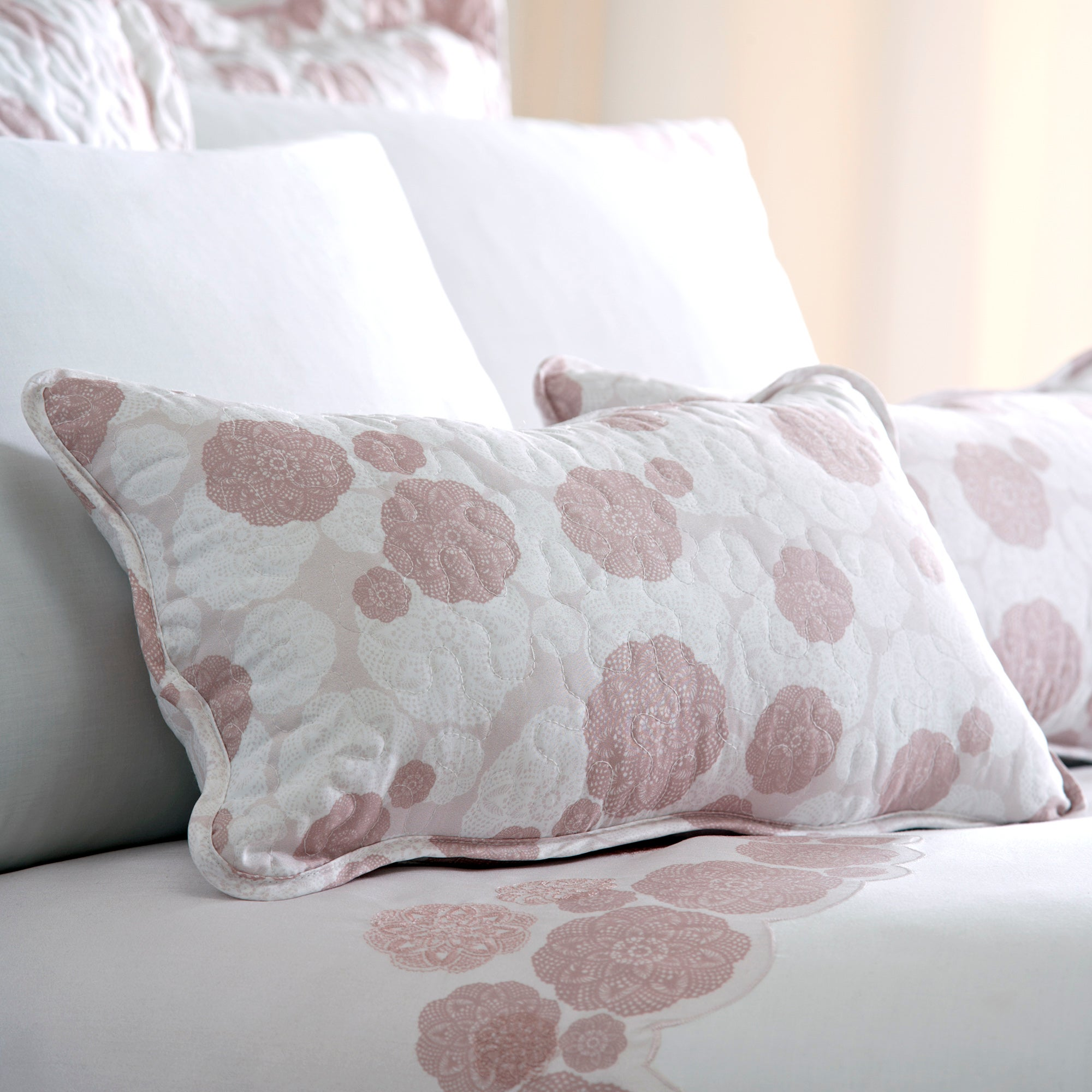 Dusky Pink Phoebe Collection Boudoir Cushion