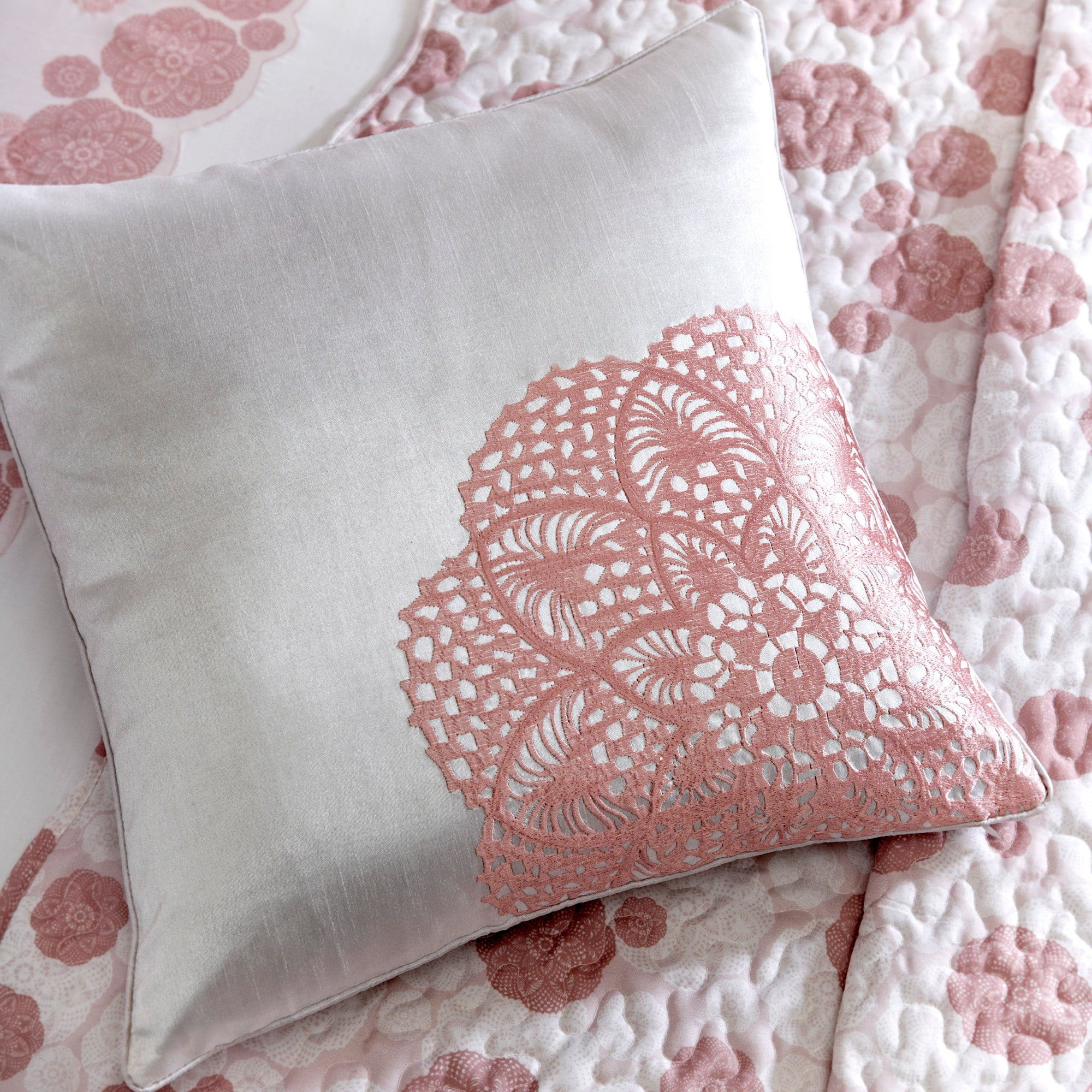 Dusky Pink Phoebe Collection Square Cushion