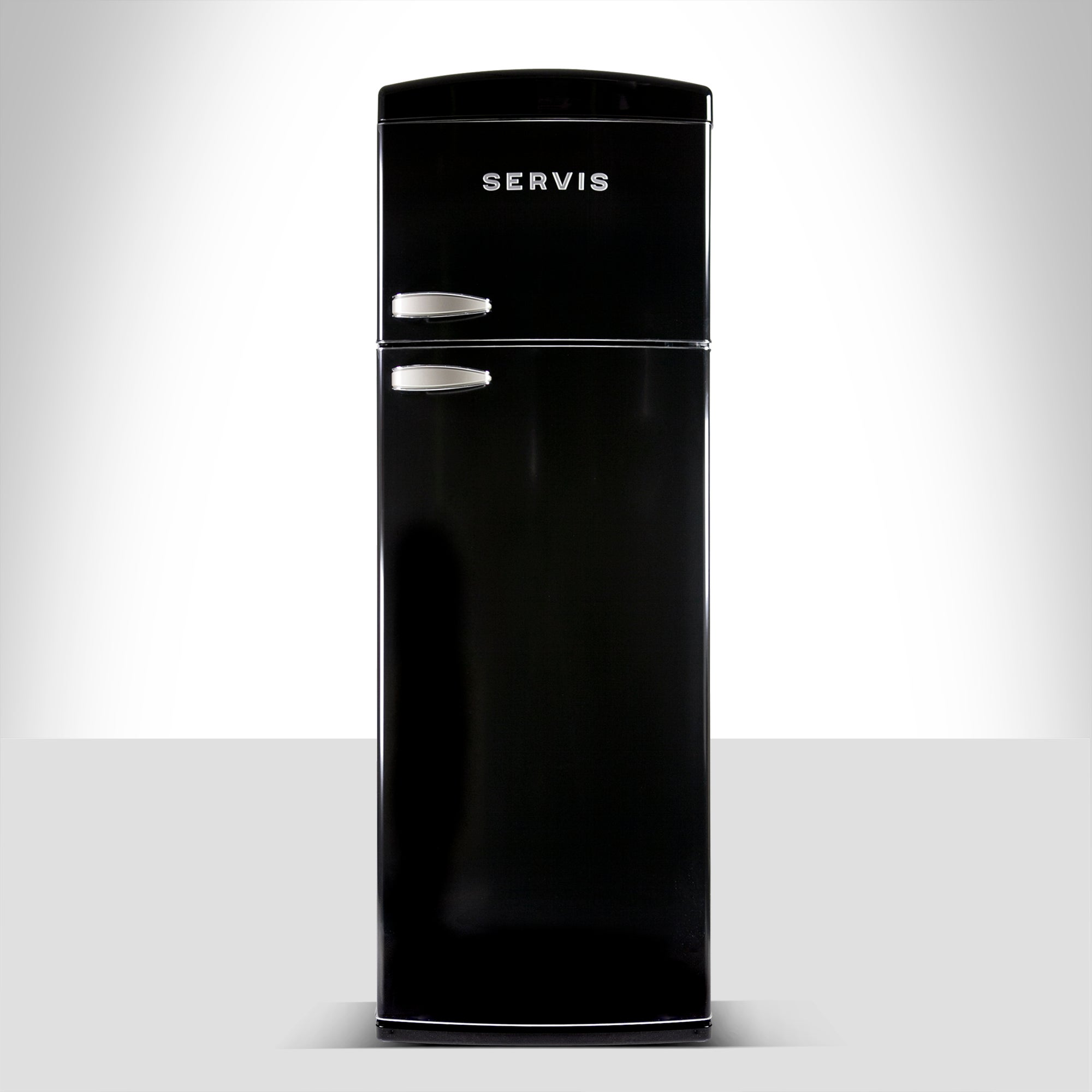 Servis T60170B Black Retro Style Topmount Fridge Freezer Black