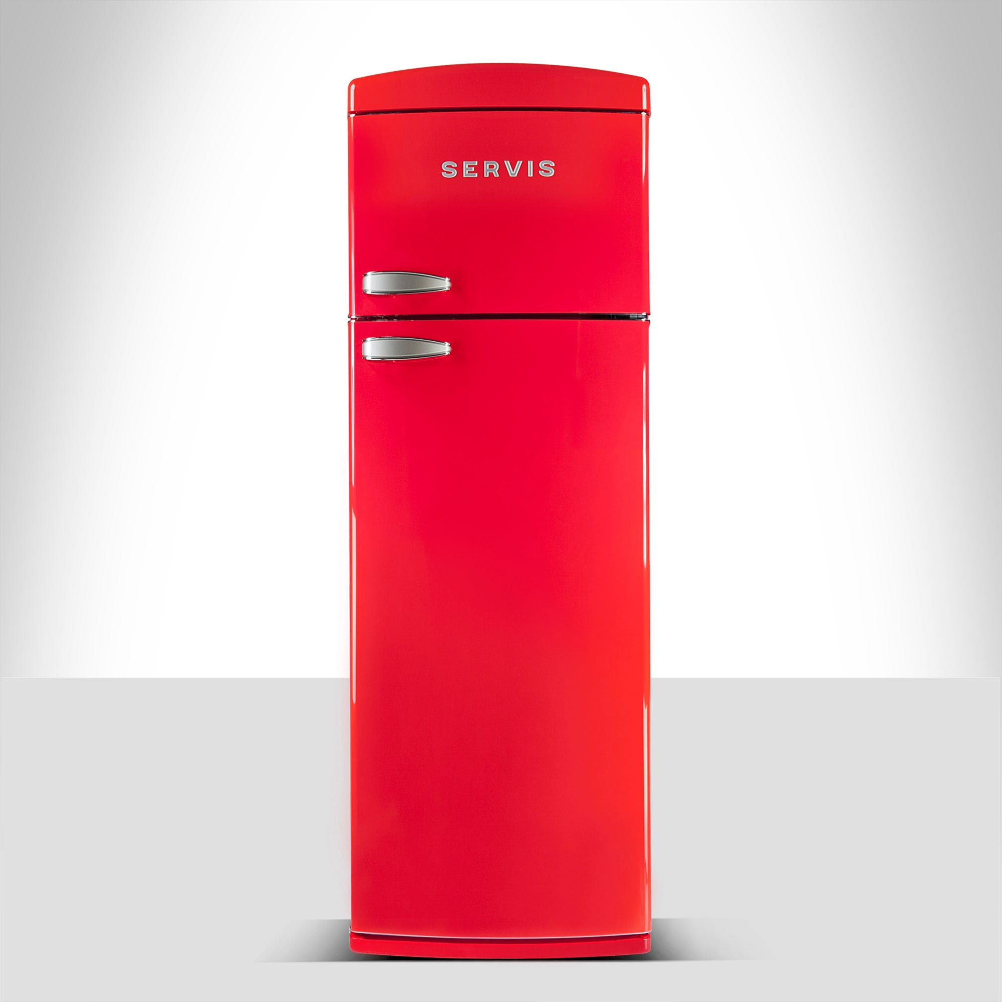Servis T60170R Red Retro Style Topmount Fridge Freezer Red
