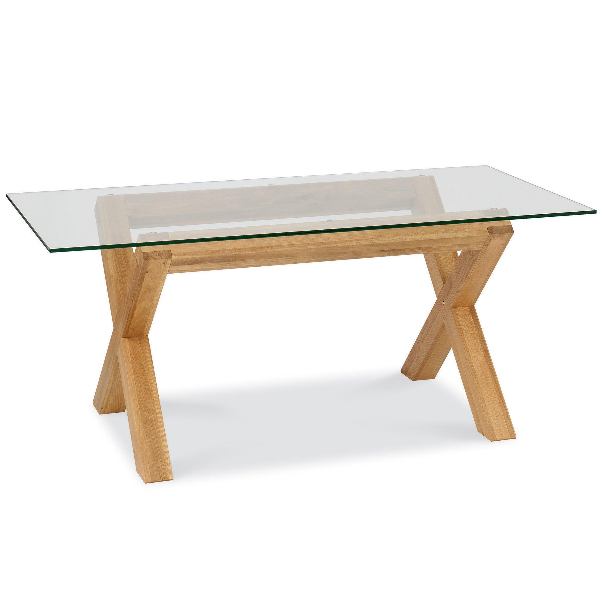 Knox Natural Oak Glass Top Table