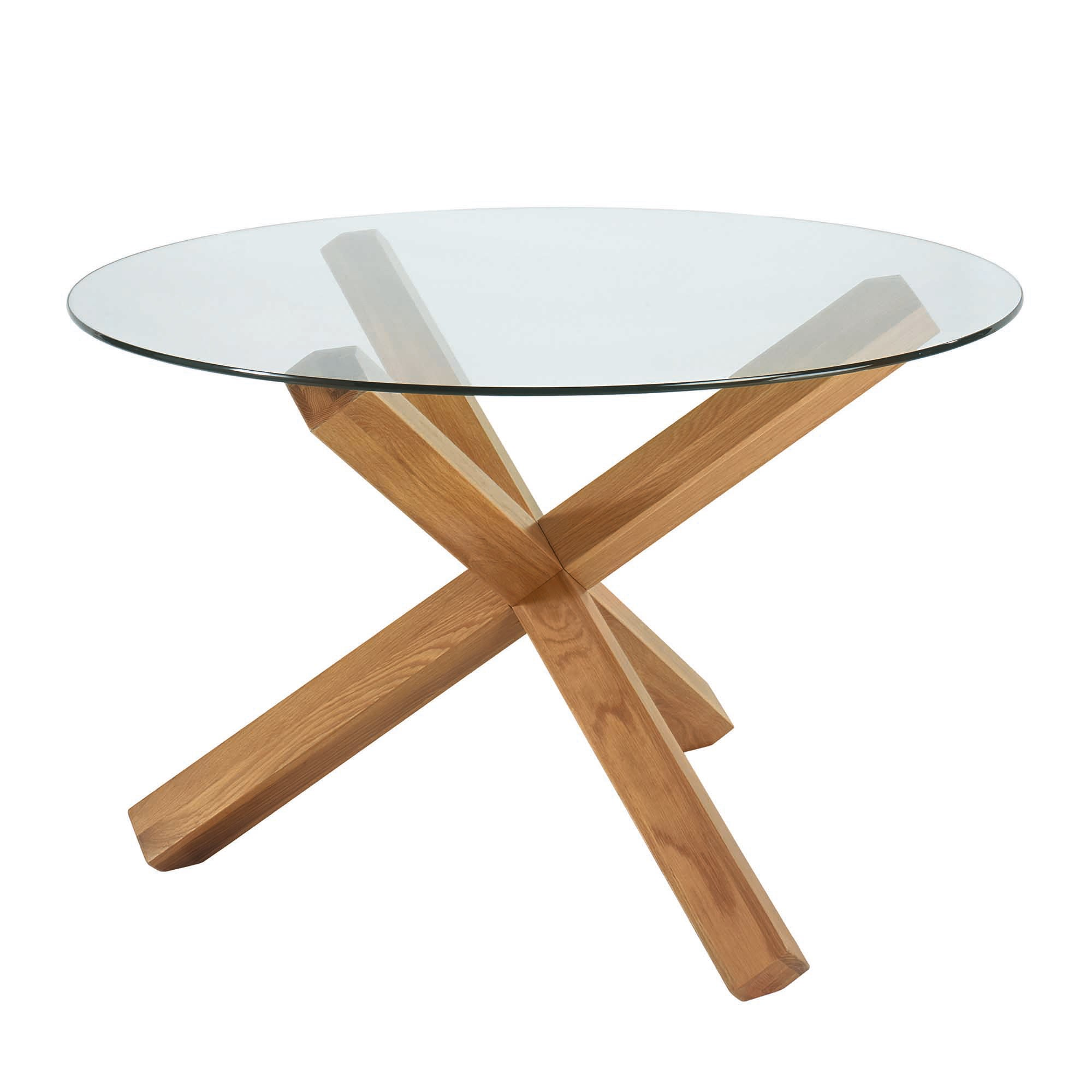 Knox Natural Oak Glass Top Round Table