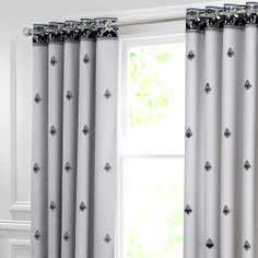 Grey Deco Flock Thermal Eyelet Curtains