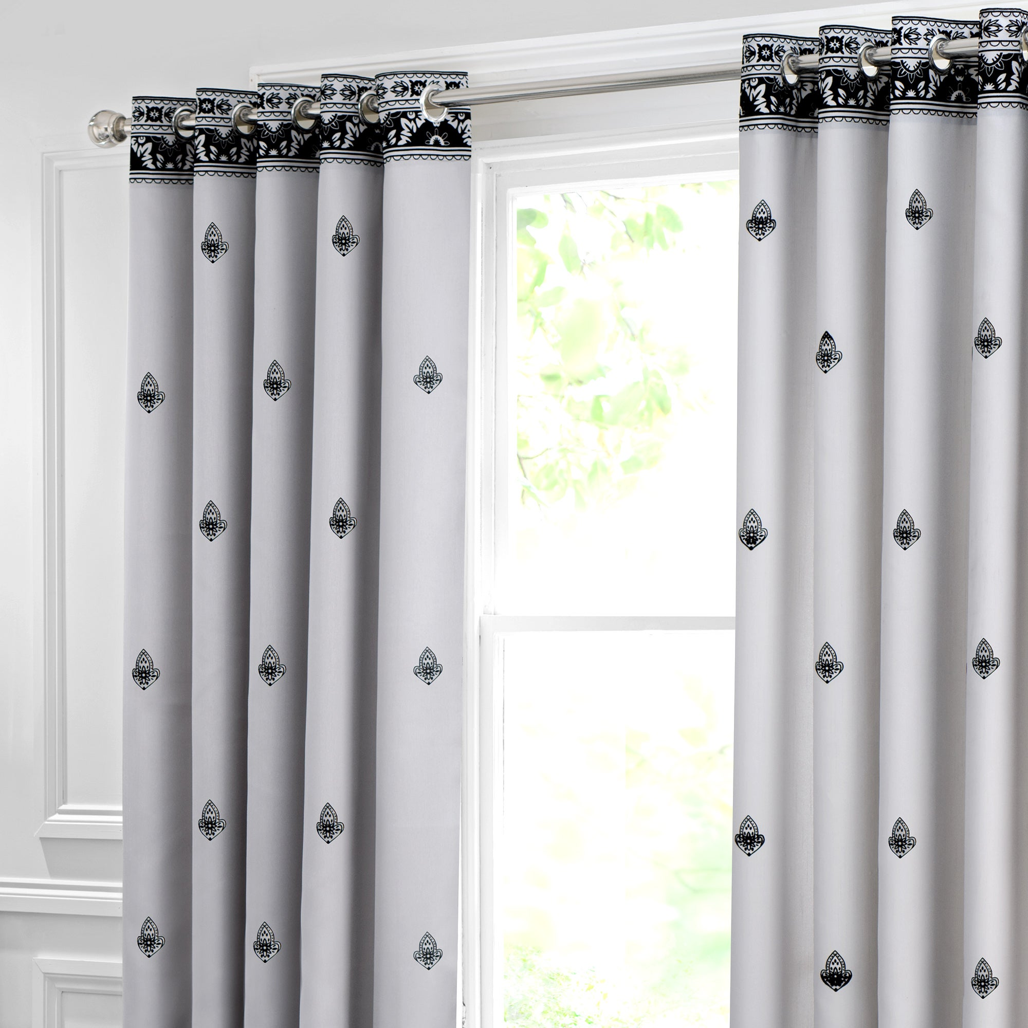 Grey Deco Flock Thermal Eyelet Curtains