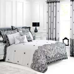 Grey Deco Flock Collection Duvet Cover