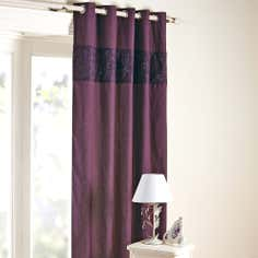 Aubergine Eliza Sparkle Thermal Eyelet Curtains