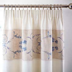 Blue Chateau Thermal Pencil Pleat Curtains