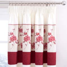 Red Country Rose Thermal Pencil Pleat Curtains