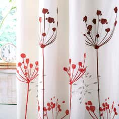 Red Cow Parsley Thermal Pencil Pleat Curtains